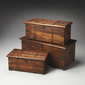 """Arcadia Solid Wood & Iron Storage Trunk Set L: 36""""W by Butler Specialty"""