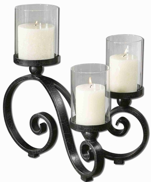 Arla Black Crackle Candle Holder With Gray Glaze Globe Brand Uttermost