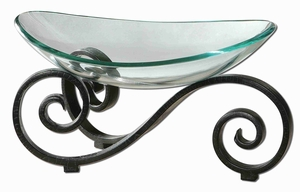 Arla Style Glass Bowl In Black Crackle Metal Stand Brand Uttermost
