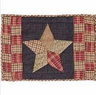 "Arlington Placemat Quilted Patchwork Star Set of 2-12x18"" VHC Brand - 12261 Brand VHC"