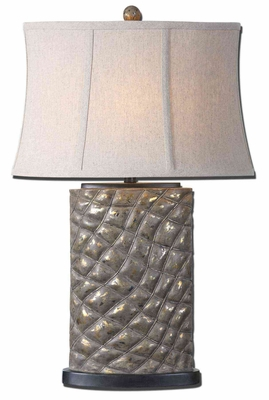 Armando Poly Gray Table Lamp with Oval Semi Bell Shade Brand Uttermost