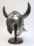 Armor Helmet - 18 Guage Steel Viking Helmet With Buffalo Horns Brand IOTC