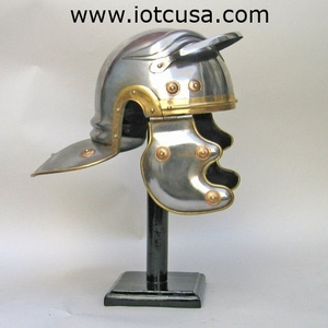 Armor Helmet - Steel And Brass Decorated Roman Helmet Brand IOTC