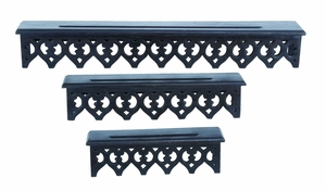 Artfully Designed Wooden Wall Shelves in Ebony Color - Set of 3 Brand Woodland