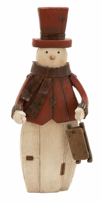 Artic Snowman Figurine with Sled Holiday Decor