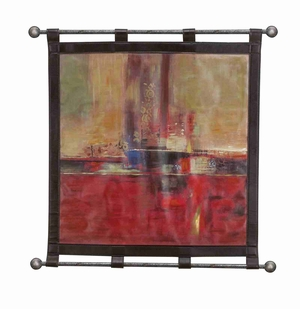 Artist Colors Leather Wall Hanging W Metal Scroll 32x34 Brand Woodland