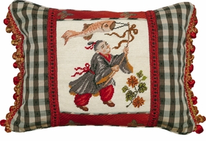 Artistic Boy with Kite-Black & Red Petit-Point Pillow by 123 Creations
