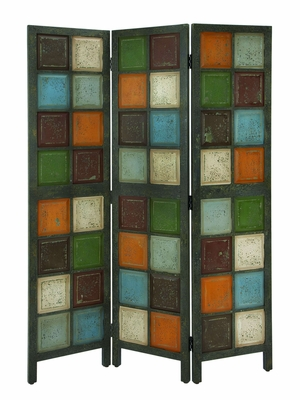 Artistic Multi Colored Room Dividing Screen With Antique Wood Brand Woodland