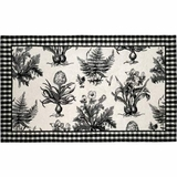Artistic Patterned Black & White Botanical Hooked Rug by 123 Creations