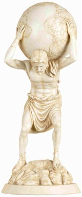Artistic Poly Resin Standing Atlas Statue in White Finish Brand Woodland