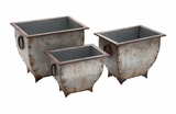 Artistic Set of 3 Metal Planter by Woodland Import