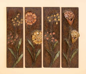 Floral Designed Metal Wall Decor, Set of 4 - 56298 by Benzara