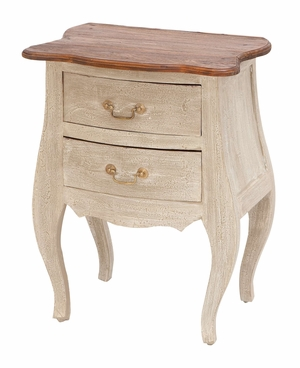 Artistic Wood Side Table Shabby White With Two Smooth Pull Out Drawers Brand Woodland