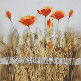Artistically Painted Poppies in the Field Orange Red I by Yosemite Home Decor