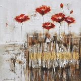 Artistically Painted Poppies in the Field Red II Painting by Yosemite Home Decor