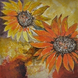 Artistically Painted Sunburst Flower I Painting by Yosemite Home Decor