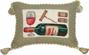 Arty Wine Petit Point Pillow by 123 Creations