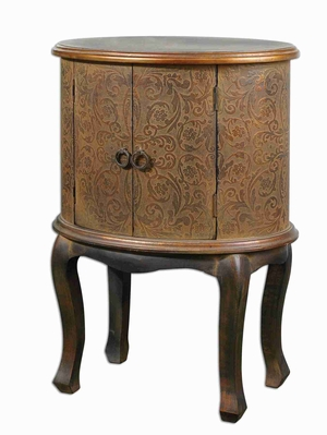 Ascencion Storage Accent Table With Embossed Wood and Copper Brand Uttermost