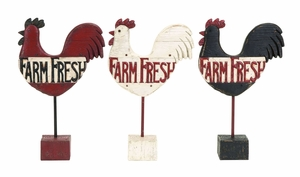 Assorted Kitchen Rooster Farm Fresh Sign From Polystone Cast Brand Woodland