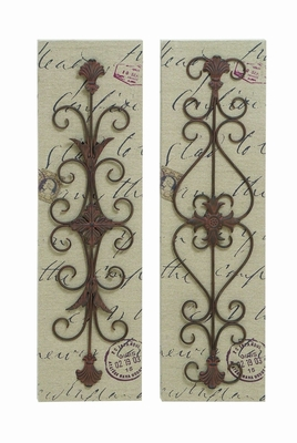 Assorted Metal Canvas D�cor Work - Set of 2 Brand Woodland
