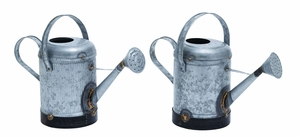 Assorted Metal Galvn Water Can With Rust Design - Set Of 2 - 38162 by Benzara