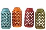 Assorted Open Cut Crisscross Design Ceramic Antique Lantern Set of Four w/ Handle