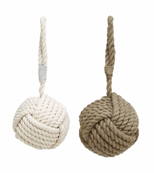 Assorted Rope Doorstop in Brown Beige Finish - Set of 2 Brand Woodland