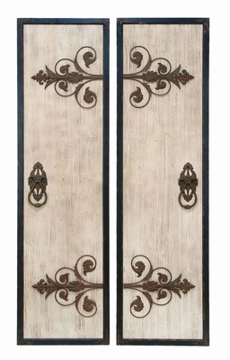 Wooden And Metal Wall Plaque With Assorted Classic Style - 34869 by Benzara