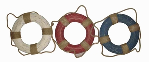 Assorted Wooden Lifering Decor in Multi Color - Set of 3 Brand Woodland
