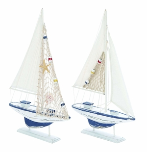 Assorted Wooden Sail Boat with Carved Edges - Set of 2 Brand Woodland