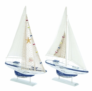 Assorted Wooden Sail Boat with Chic Oceanic Design - Set of 2 Brand Woodland