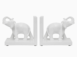 Astonishing White Resin Elephant Bookend by Three Hands Corp