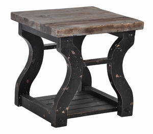 Astor End Table with Wooden Top and Curved Legs