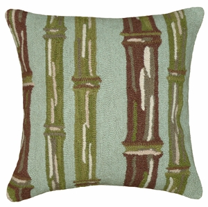 Astounding Unique Patterned Bamboo Green Hooked Pillow by 123 Creations