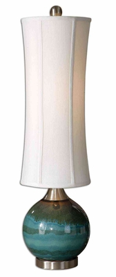Atherton Blue Buffet Lamp with Aluminum Detailing Brand Uttermost