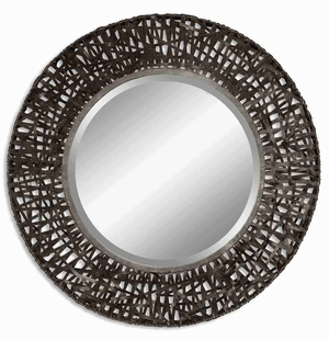 Atila Round Wall Mirror with Black Woven Details Brand Uttermost