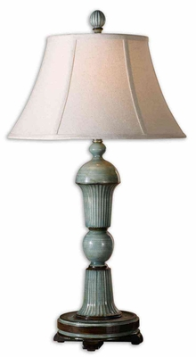 Attilio Antique Ivory Blue Table Lamp with Detailing Brand Uttermost