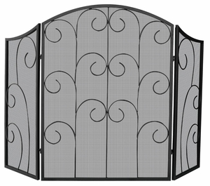 Attractive 3 Panel Black Wrought Iron Screen with Decorative Scroll