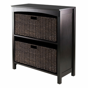 Winsome Wood Attractive 3pc Storage 3-Tier Shelf with 2 Large Baskets