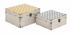 Attractive and Colorful Square Shaped Set of Two Boxes by Woodland Import