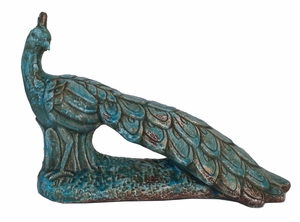 Attractive Blue Ceramic Peacock Figurine by Three Hands Corp