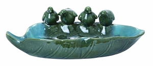 Attractive Ceramic Bird Basin with Glossy Finish in Green Brand Woodland