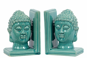Attractive Ceramic Buddha Head Bookend Turquoise