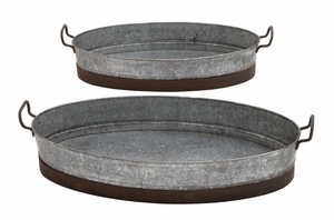 Attractive Contemporary Styled Metal Planter Tray by Woodland Import