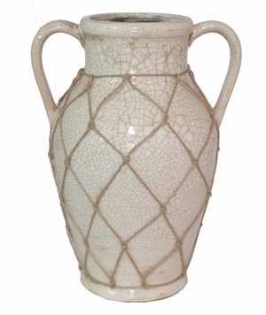 Attractive Cream Color Ceramic Vase by Benzara