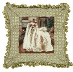 Attractive Customary Styled Maltese Petit Point Pillow by 123 Creations