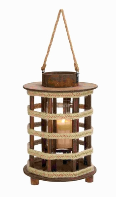 Attractive Design Wood Lantern with Convenient Rope Handle Brand Woodland