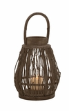 Attractive drum Shaped Wood Glass Lantern by Woodland Import