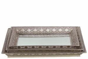 Attractive & Elegant Metal Tray/Mirror Set of Three in Silver