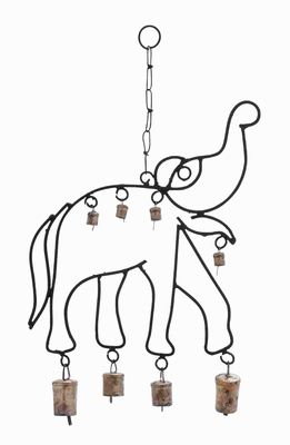 Attractive Elephant Shaped Design Metal Elephant Wind Chime Brand Woodland